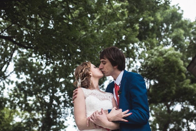 Bottom view of newlyweds kissing