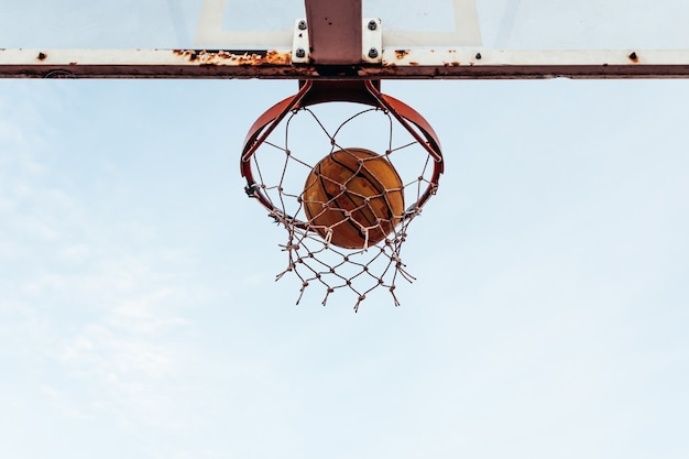 バスケットボールバスケットの底面図。フープから入るボール。