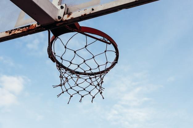 バスケットボールのフープの底面図。