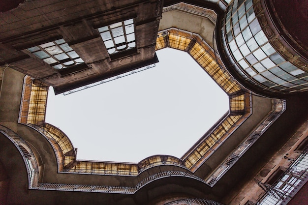 Bottom view on the old historical building in budapest city, hungary.