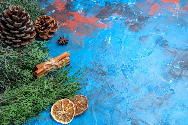 Bottom view pine tree branches with cones cinnamon sticks anise seed dried lemon slices on blue-red background with free place