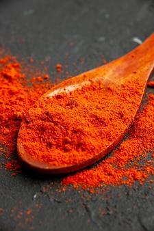 暗い表面の木のスプーンの底面図赤胡椒粉