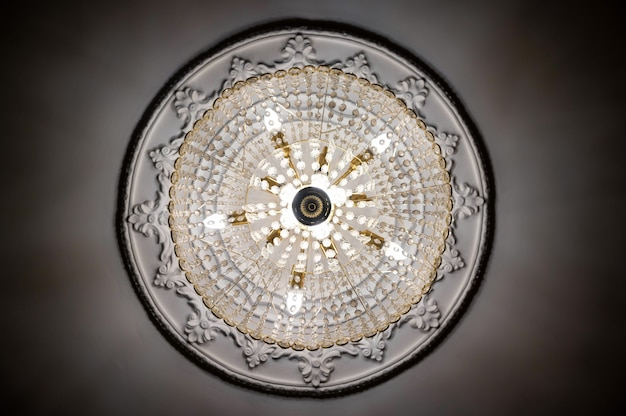 Bottom view of round classic chandelier