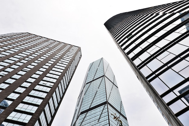 Bottom view of three buildings