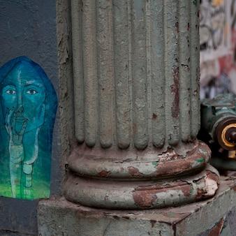 Bottom of a weathered column in manhattan, new york city, u.s.a.