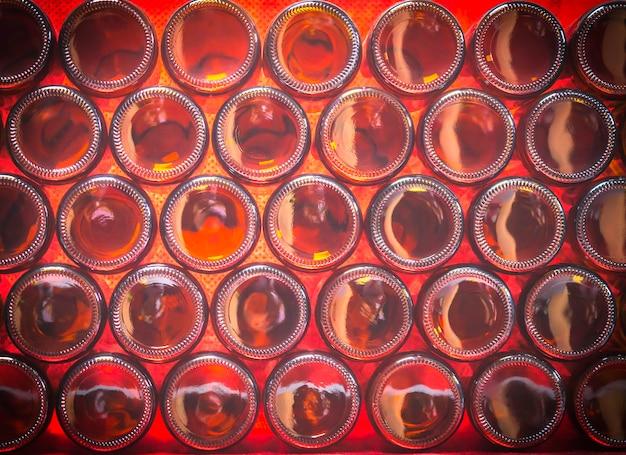 Bottoms of brown color bottles