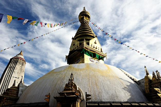 Boudhanath pagoda temple under the cloudy sky in kathmandu nepal