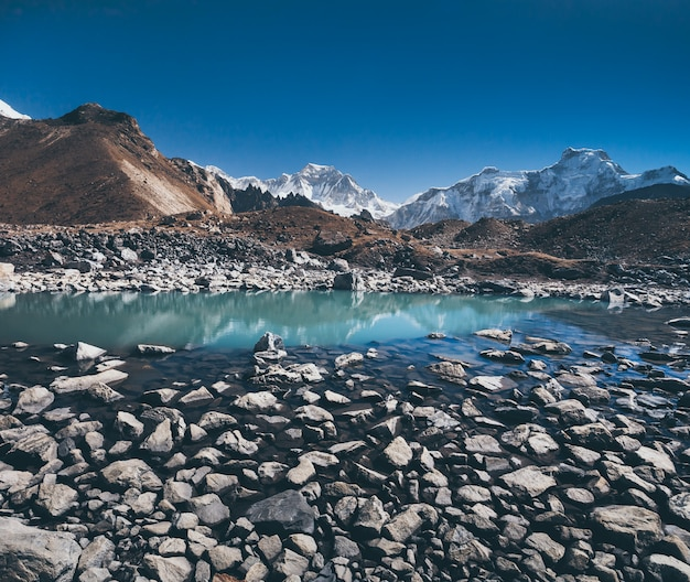 The boulders. gokyo lake. himalayas.