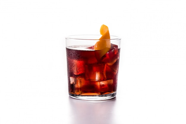 Boulevardier cocktail and orange zest