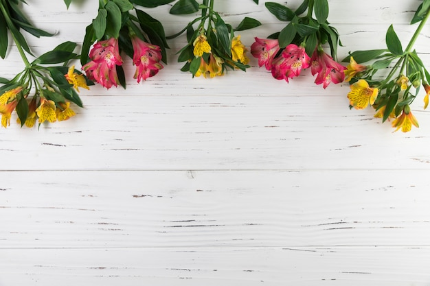Bouquet of alstroemeria flowers on white wooden textured background