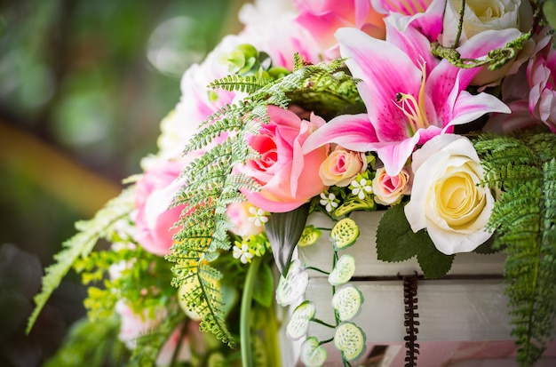 Bouquet of the artificial flower for decoration