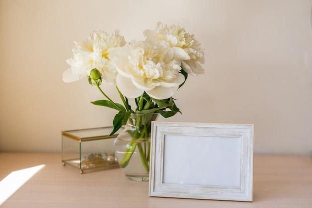 Bouquet of beautiful peony copy space international womens day celebration white wall background scandinavian interior