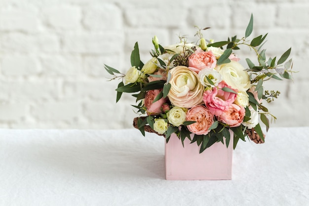 Bouquet of beautiful rose and white flowers