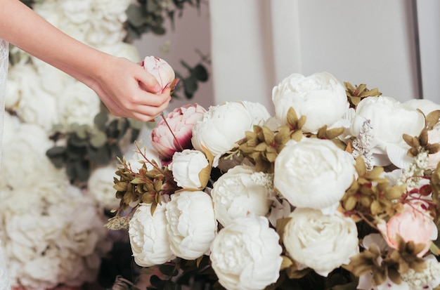 Bouquet of beautiful roses close up