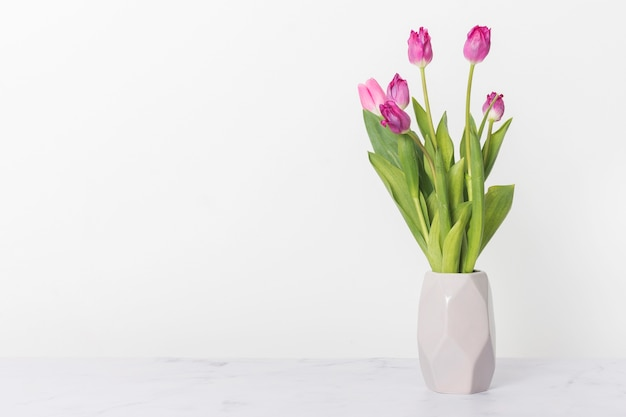 Bouquet of beautiful tulips copy space