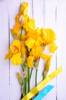 Bouquet of blooming yellow irises