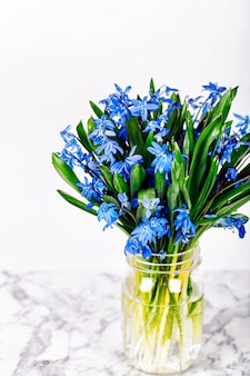 Bouquet of blue spring flowers on marble background. copy spase