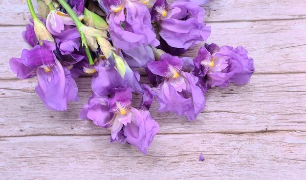 Bouquet in a bunch of purple iris flowers