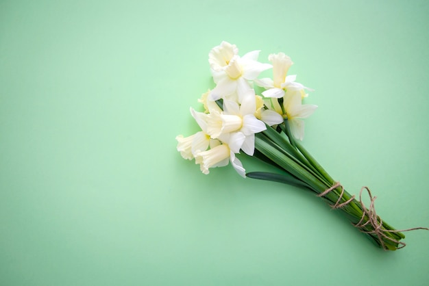 A bouquet of daffodils on a green background