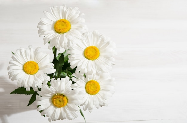 Bouquet of daisies on white wooden table
