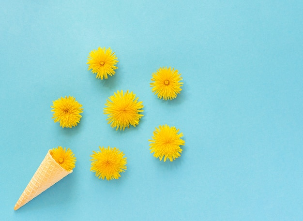 Bouquet dandelions flowers in waffle ice cream cone on blue background