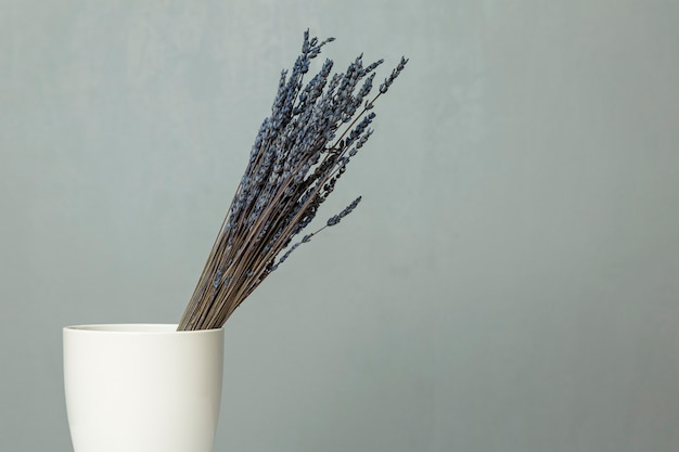 A bouquet of dry blue lavender stands in a white vase on a table against a gray wall. space for text.