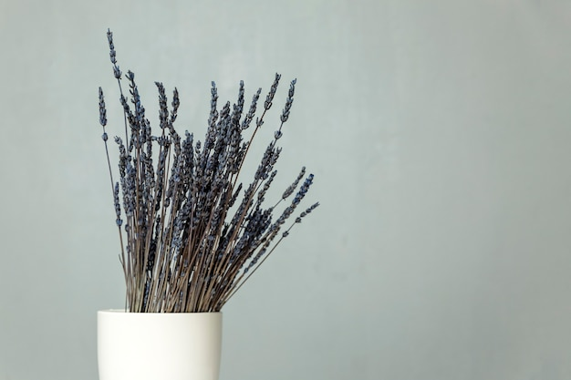 A bouquet of dry blue lavender stands in a white vase on a table against a gray wall. space for text. Premium Photo