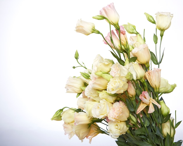 Bouquet of eustoma flowers on white background. copy space.