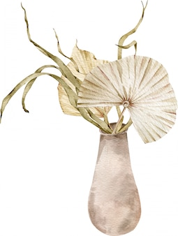 Bouquet of exotic plants and palm tree leaves in a ceramic vase. watercolor beige dried tropical illustration.