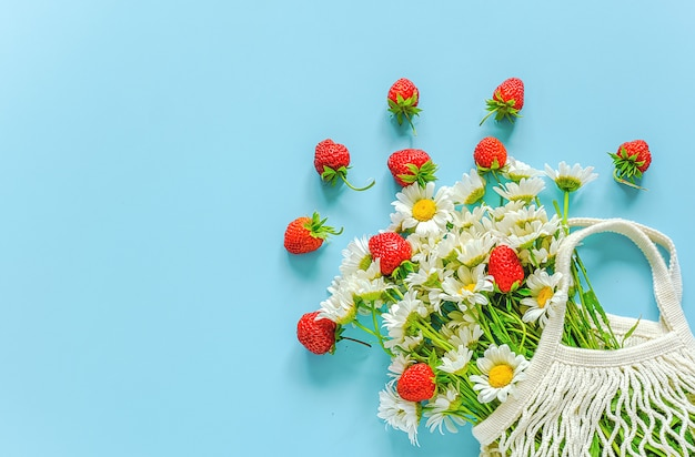Bouquet of field daisies in reusable shopping eco mesh bag and red strawberries on blue background