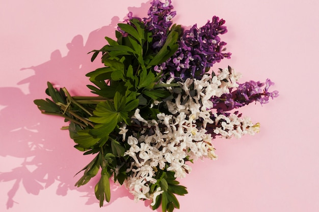 Bouquet of flowers in a pink background