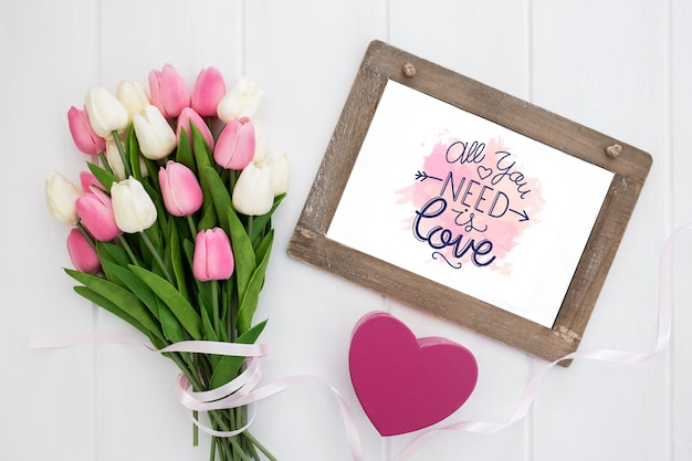 Bouquet of flowers and positive quote for valentines day