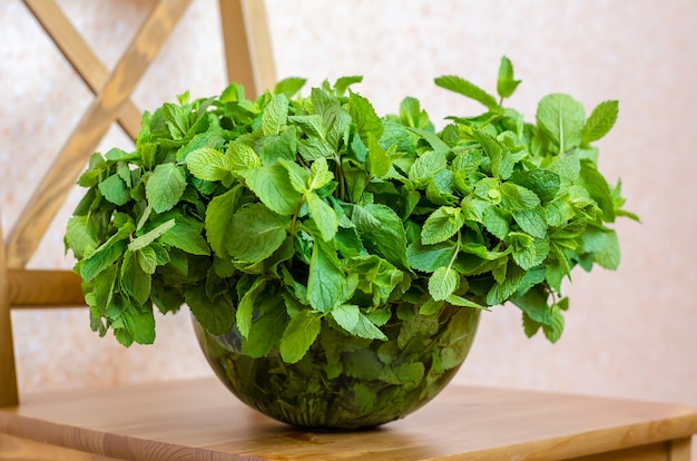 Bouquet of fresh mint in a glass bowl.