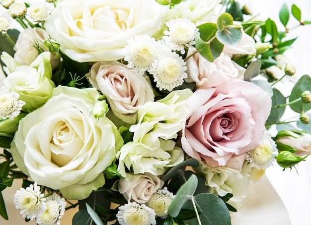 Bouquet of fresh pink and white roses