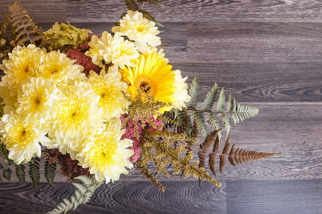 Bouquet of gerbera and chrysanthemum