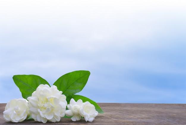 Bouquet jasmine flower on wooden plate against light blue sky.