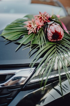 A bouquet of king protea and red pineapples on a car hood
