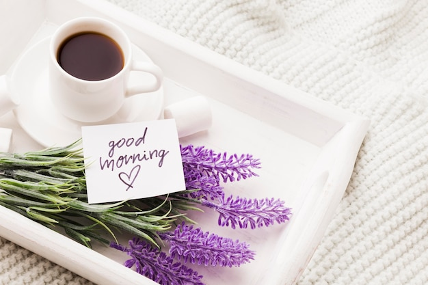 Bouquet of lavender and cup of coffee Premium Photo