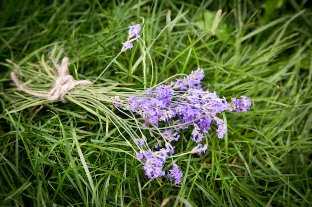 Bouquet of lavender on the old rustic table