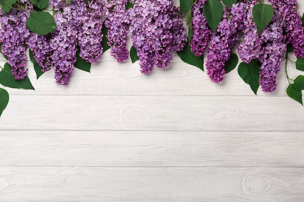 A bouquet of lilacs on white boards . mother's day