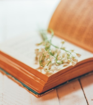 Bouquet of lily of the valley flowers on an open old book on a white vintage table, shallow depth of field