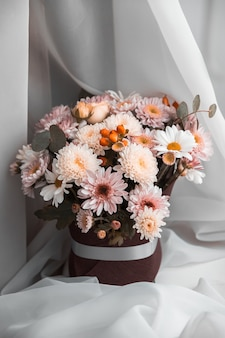 A bouquet of mixed flowers,