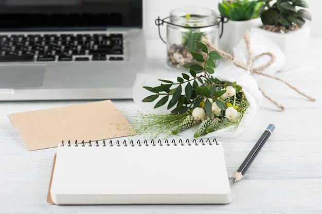 Bouquet, notebook, craft envelope