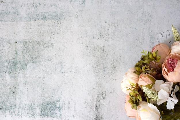 人工牡丹の花束のトップビュー