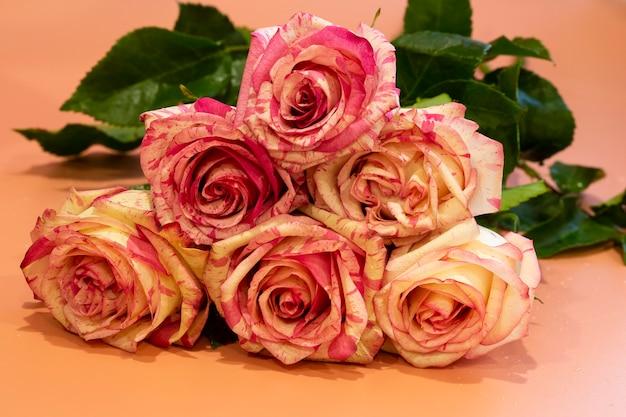 ピンクの背景のクローズアップに美しいピンクのバラの花束