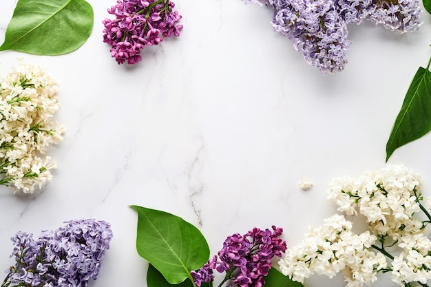 Букет красивой белой и фиолетовой сирени на белом фоне. вид сверху. праздничная открытка с пионом для свадьбы, счастливого женского дня валентина и дня матери. Premium Фотографии
