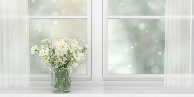 넓은 흰색 창, 3d 그림의 창틀에 서있는 아름다운 흰색 데이지 꽃다발