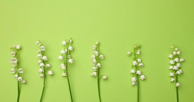 Букет цветущих ландышей на зеленом фоне, вид сверху. красивый фон для поздравительной открытки