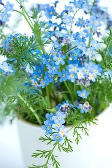블루 forgetmenots의 꽃다발을 닫습니다.