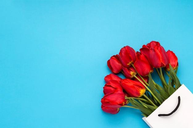 Букет из ярко красных тюльпанов в белой подарочной сумке на синем. концепция поздравлений и подарков. плоская планировка, вид сверху